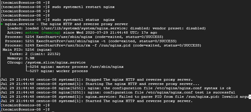 Check Nginx Status in CentOS
