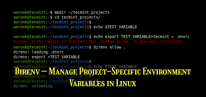 Direnv - Manage Environment Variables in Linux