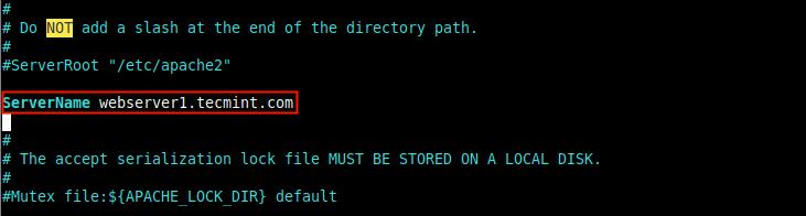 Set Server FQDN in Apache