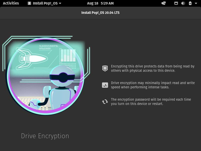 Choose PopOS Disk Encryption