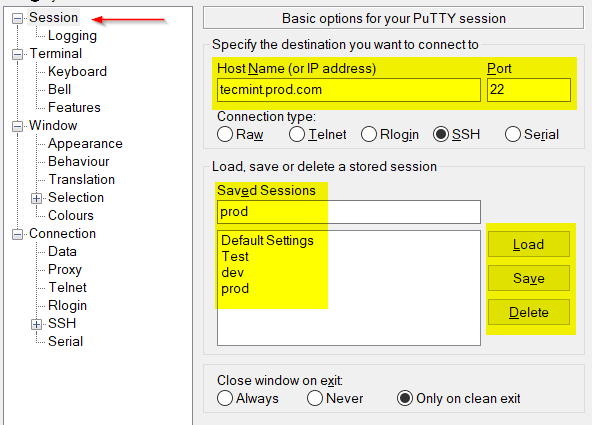Putty Remote SSH Connection