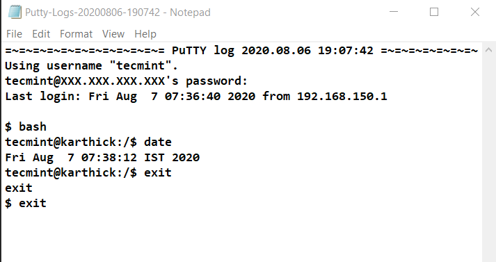 Putty Session Logs