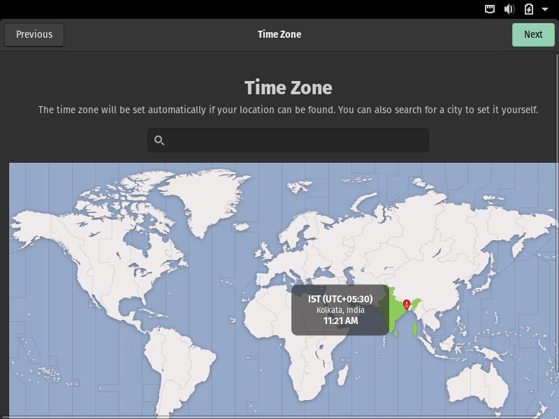 Select PopOS Timezone