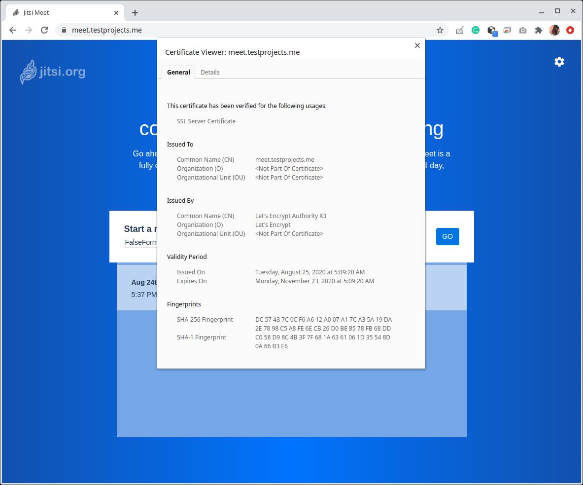 Verify HTTPS on Jitsi Meet