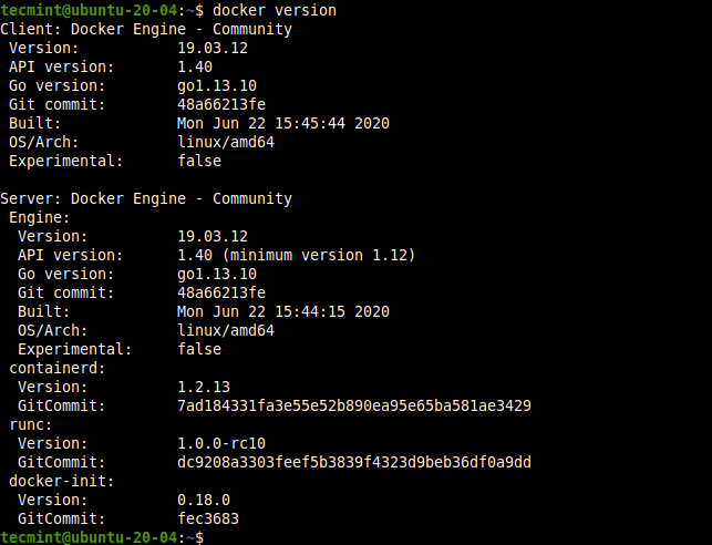 Check Docker Version