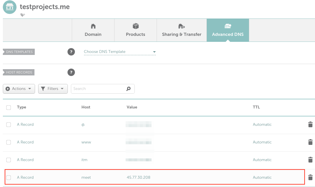 Create A Record for Domain in DNS