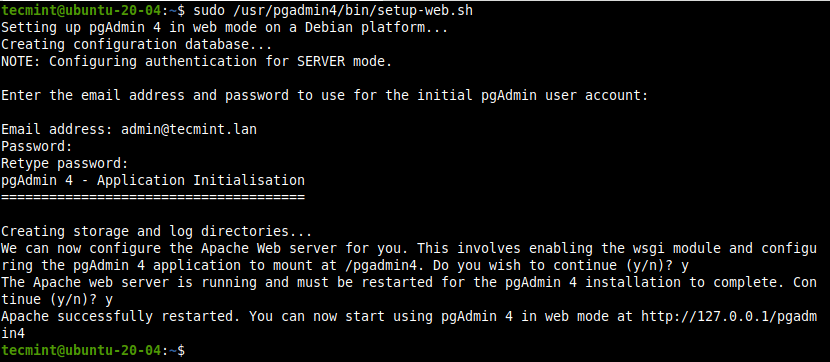 Set Up PgAdmin in Ubuntu
