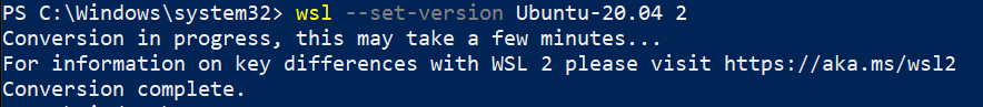 Convert WSL 1 to WSL 2