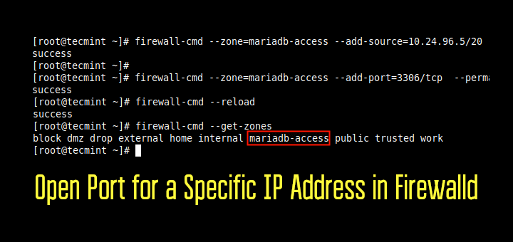 Open Port for IP Address in CentOS