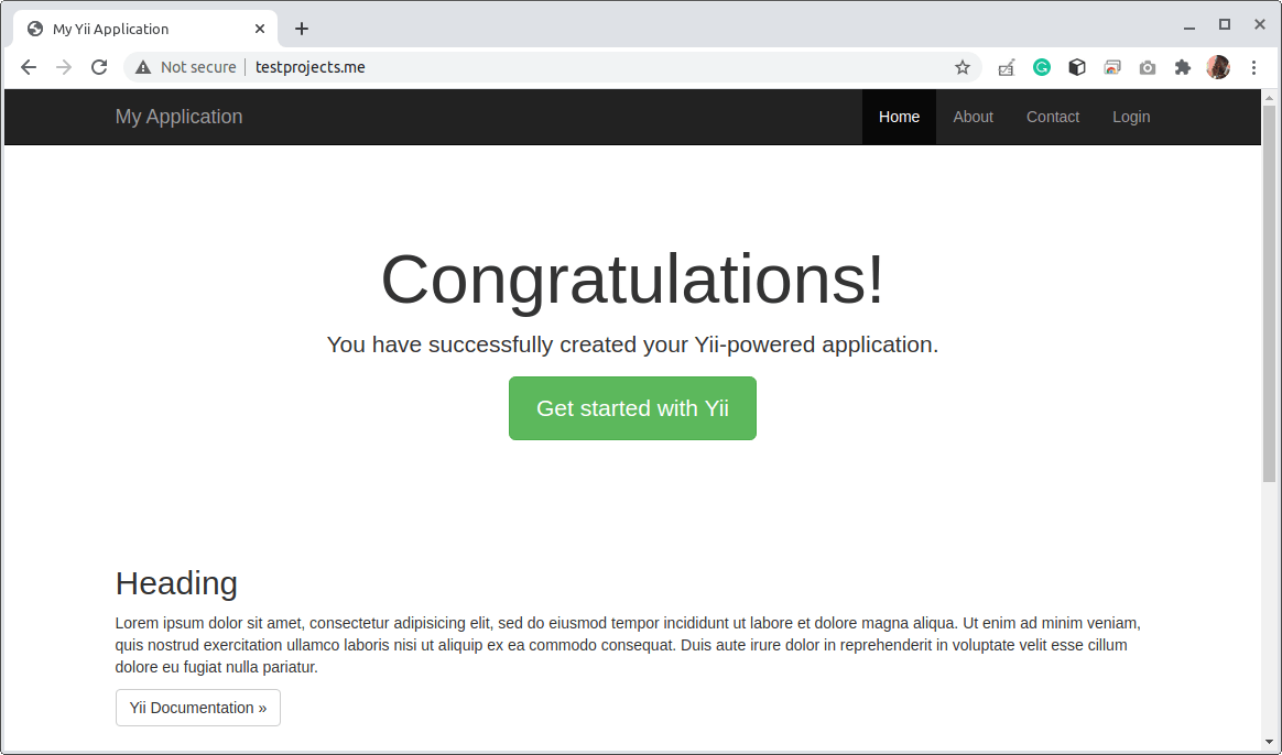 Access Yii Application Using Domain