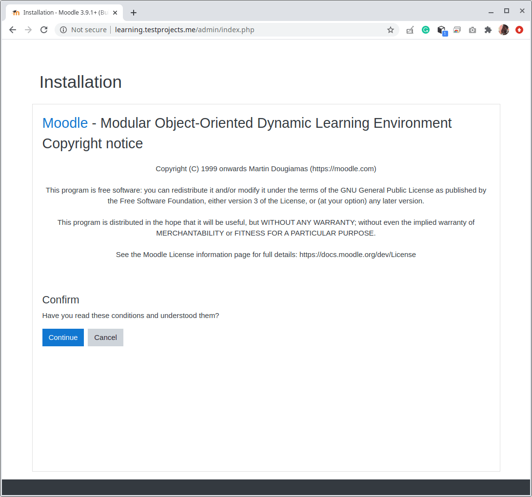 Moodle Web Installer