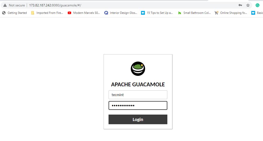 Apache Guacamole Login