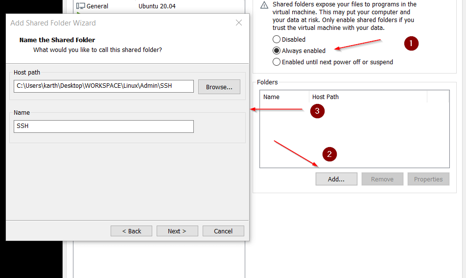 Enable Share Folder in VMWare