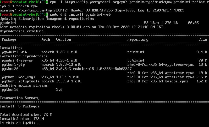 Install Pgadmin4 in RHEL 8