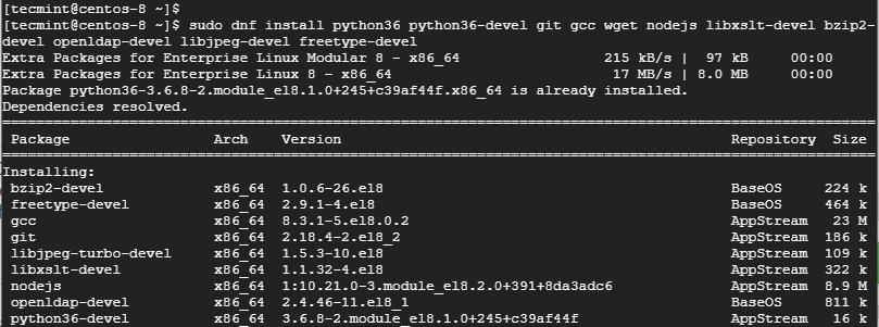 Install Python 3 in CentOS 8