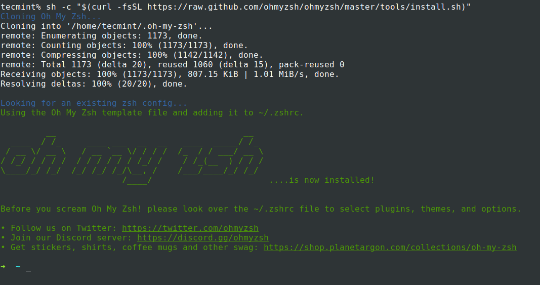 Installation of Oh-My-Zsh in Ubuntu