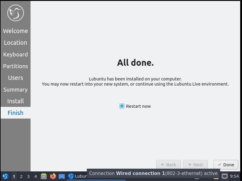 Lubuntu Installation Complete
