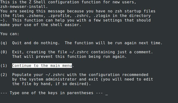 New User Zsh Setup