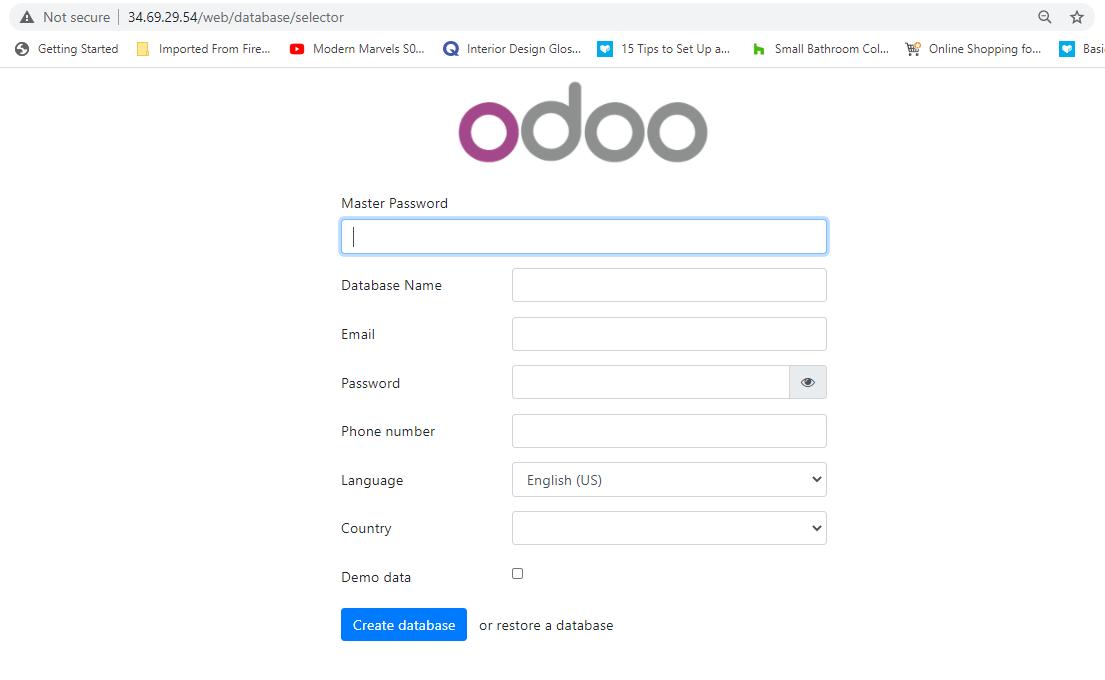 Odoo Setup in CentOS 8