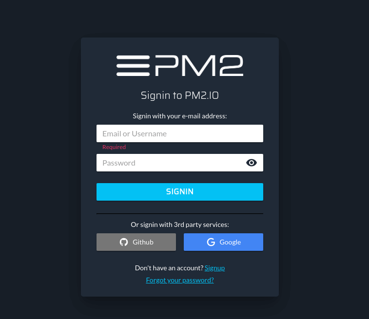 PM2 Signup