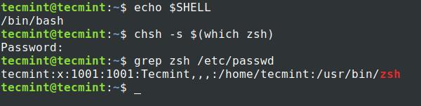Set Zsh Shell in Ubuntu
