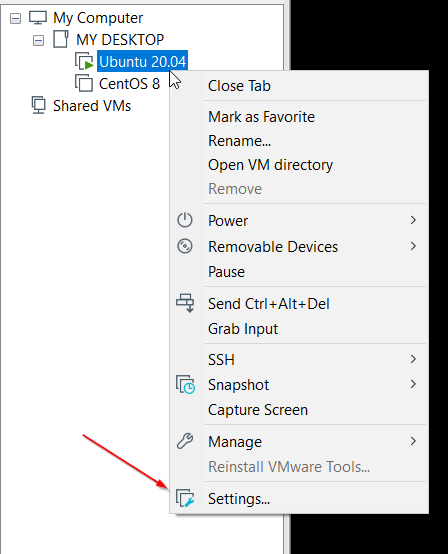 VMWare Host Settings