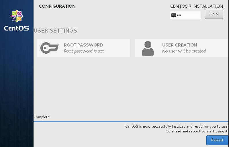 CentOS 7 Installation Complete