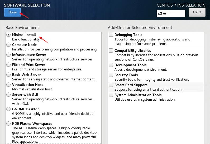 CentOS 7 Minimal Installation