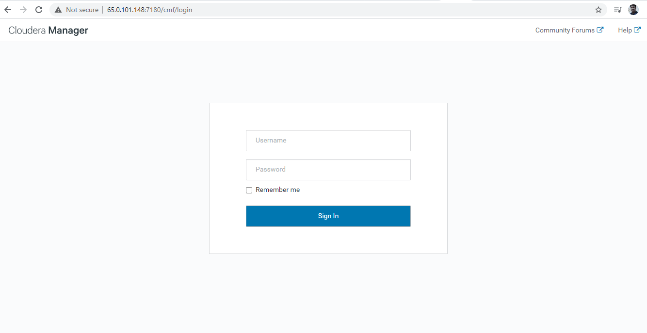 Cloudera Manager Login