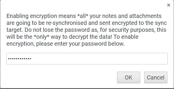 Enable Encryption in Joplin