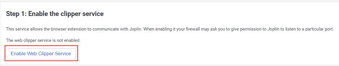 Enable Joplin Web Clipper
