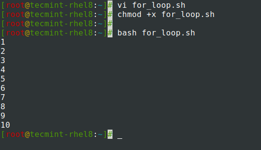 For loop in Shell Script