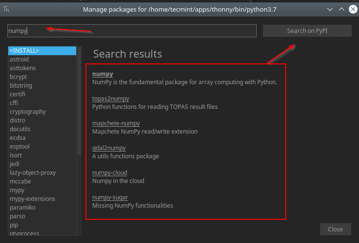 Search Package in Thonny