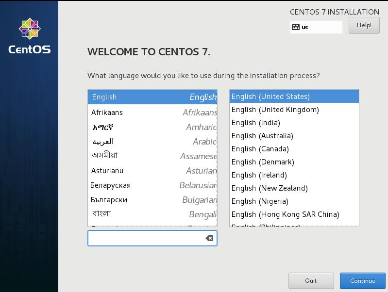 Select CentOS 7 Language