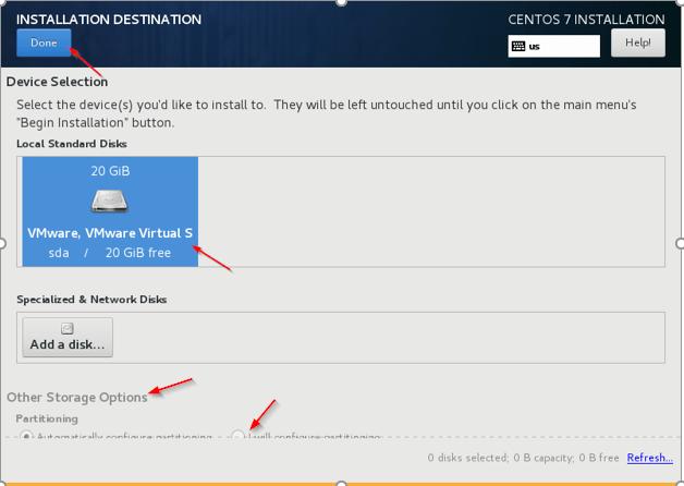 Select Disk for CentOS Installation