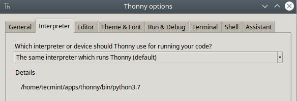 Set Thonny Python Interpreter