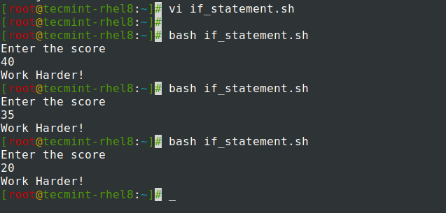 if Statement in Shell Script