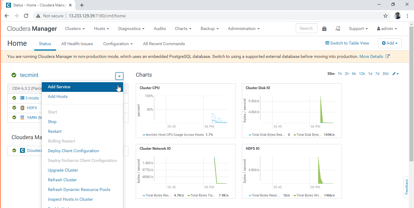Add Service in Cloudera Manager