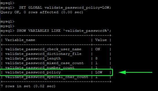 Change Mysql Password Policy