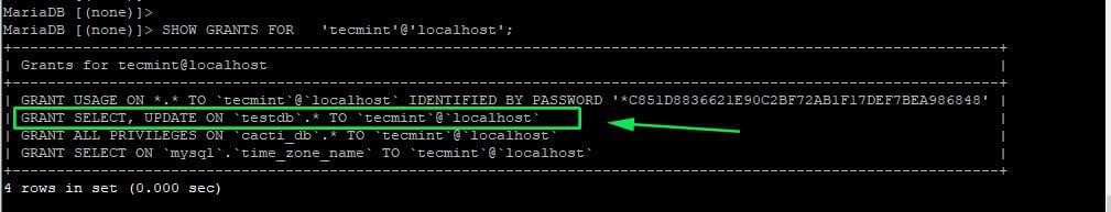 Check User MySQL Permissions
