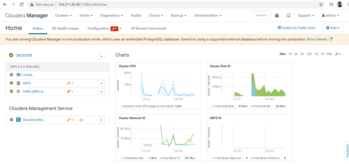 Cloudera Manager Dashboard