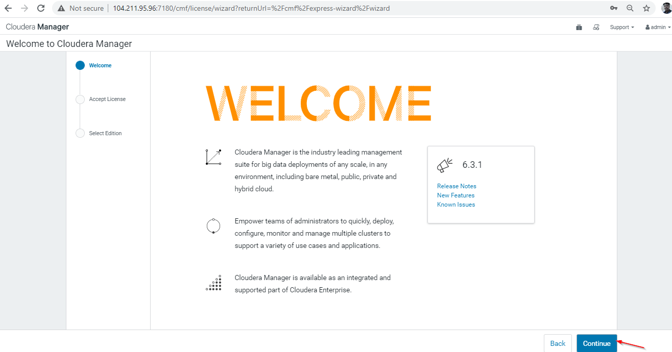 Cloudera Manager Welcome