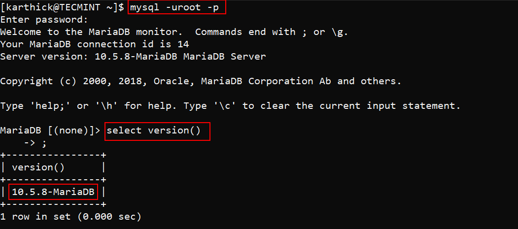 Connect to MariaDB Shell