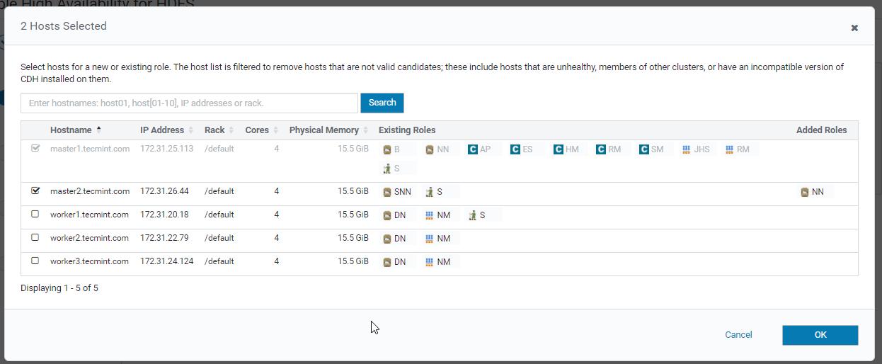Select Host for Namenode