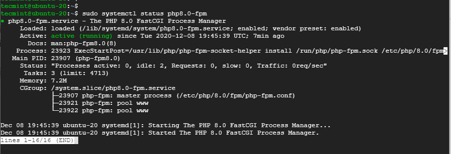 Verify PHP-FPM in Nginx