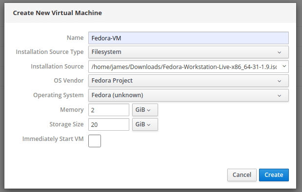 Add New KVM VM Details
