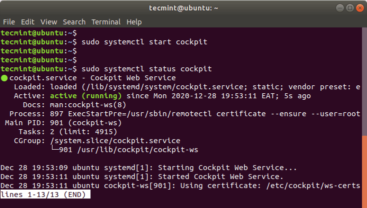 Check Cockpit Web Status in Ubuntu
