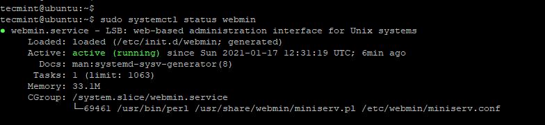 Check Webmin Status on Ubuntu
