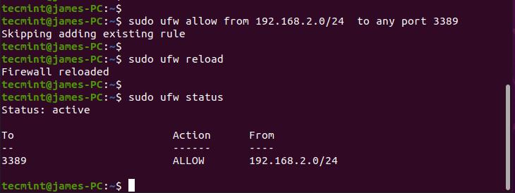 Open Xrdp Port on Ubuntu Firewall