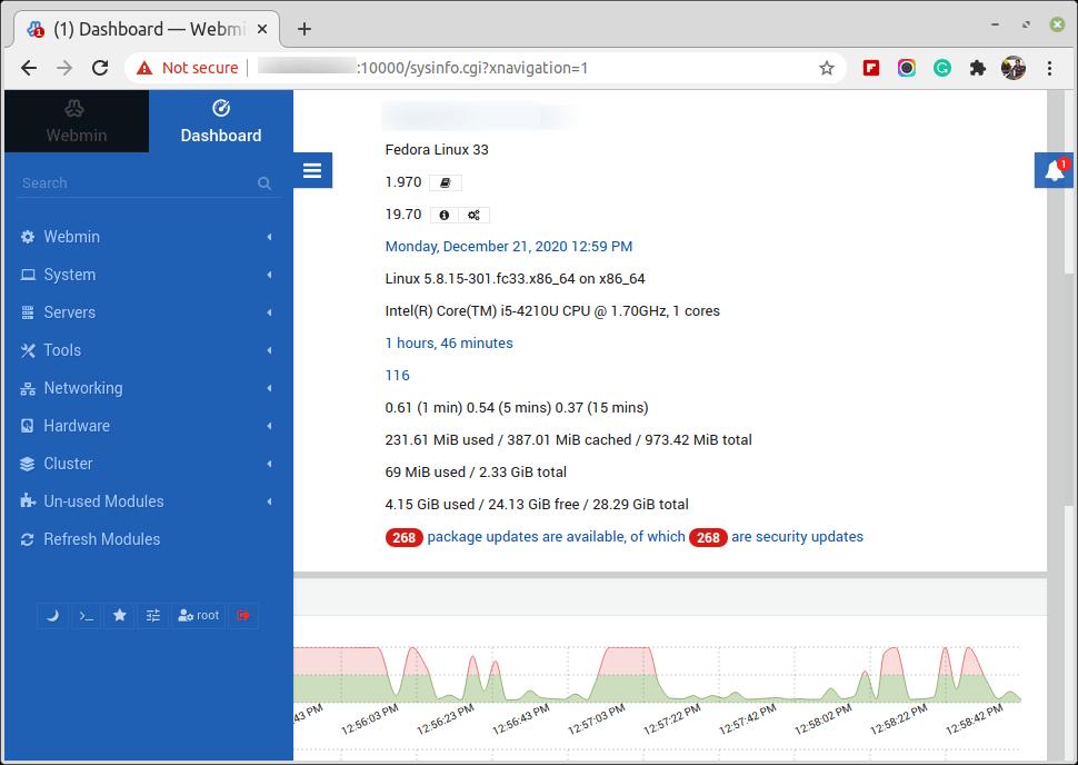 Fedora Webmin Dashboard